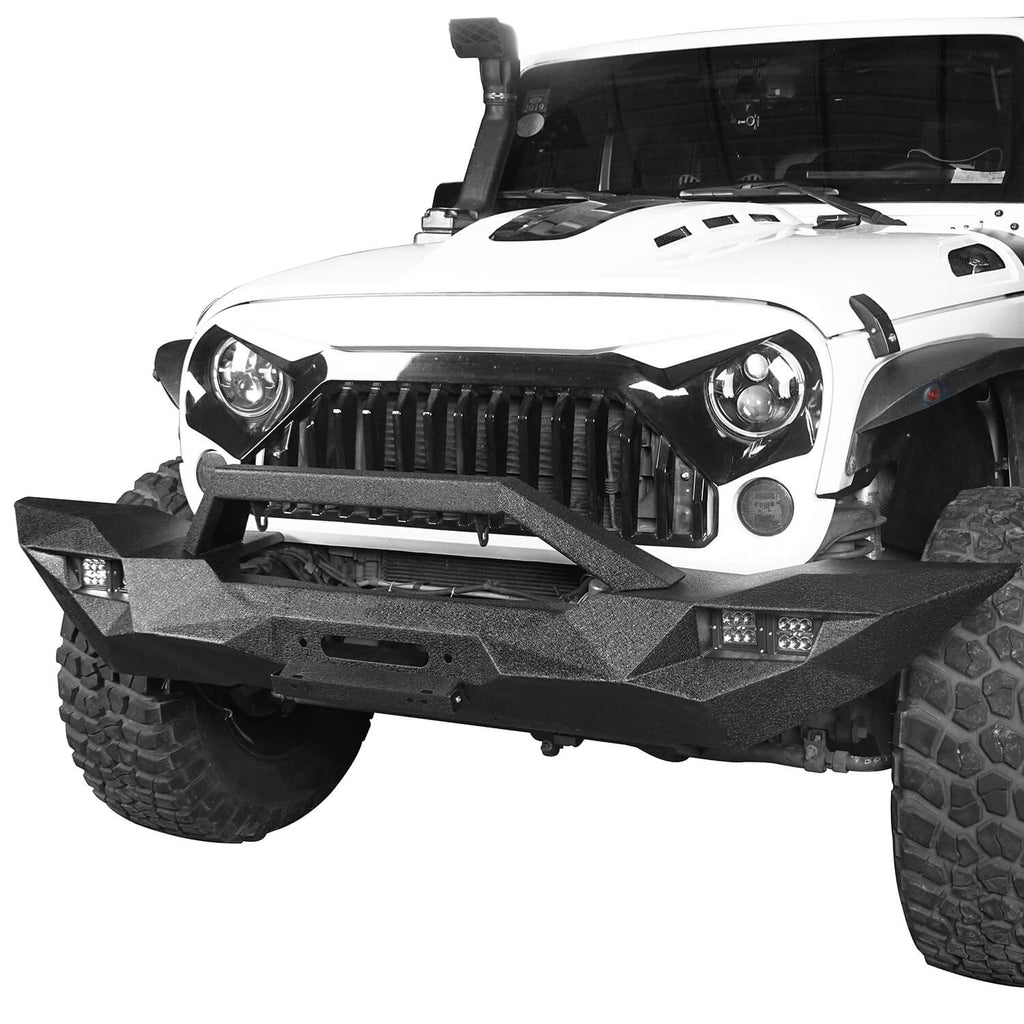 Blade Master Full Width Front Bumper w/Winch Plate & License Plate for 2007-2018 Jeep Wrangler JK BXG090 1