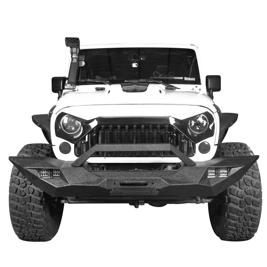 Blade Master Full Width Front Bumper w/Winch Plate & License Plate for 2007-2018 Jeep Wrangler JK BXG090 2
