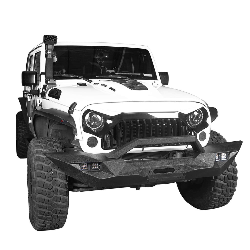 Blade Master Full Width Front Bumper w/Winch Plate & License Plate for 2007-2018 Jeep Wrangler JK BXG090 3