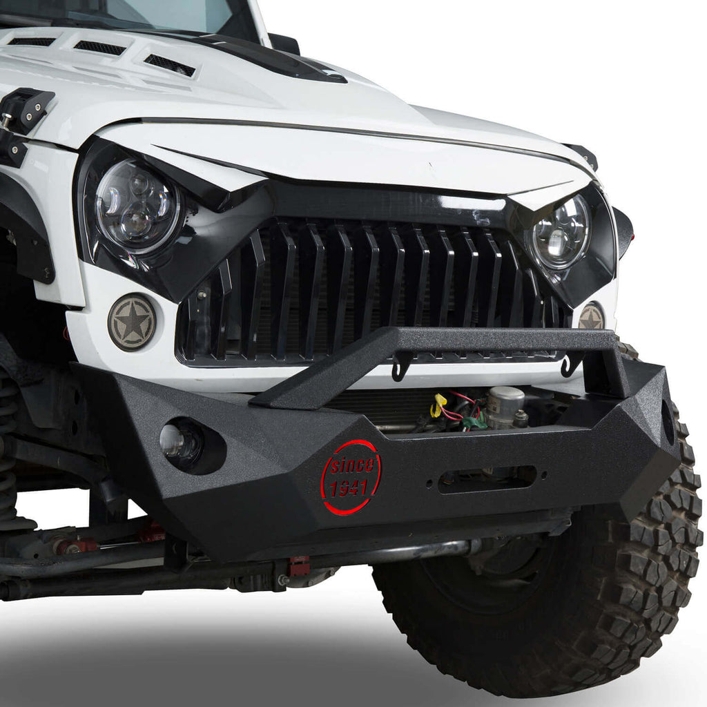 Ultralisk 4x4 Rock Crawler Stubby Front Bumper & Different Trail Rear Bumper w/Tire Carrier Combo(07-18 Jeep Wrangler JK)
