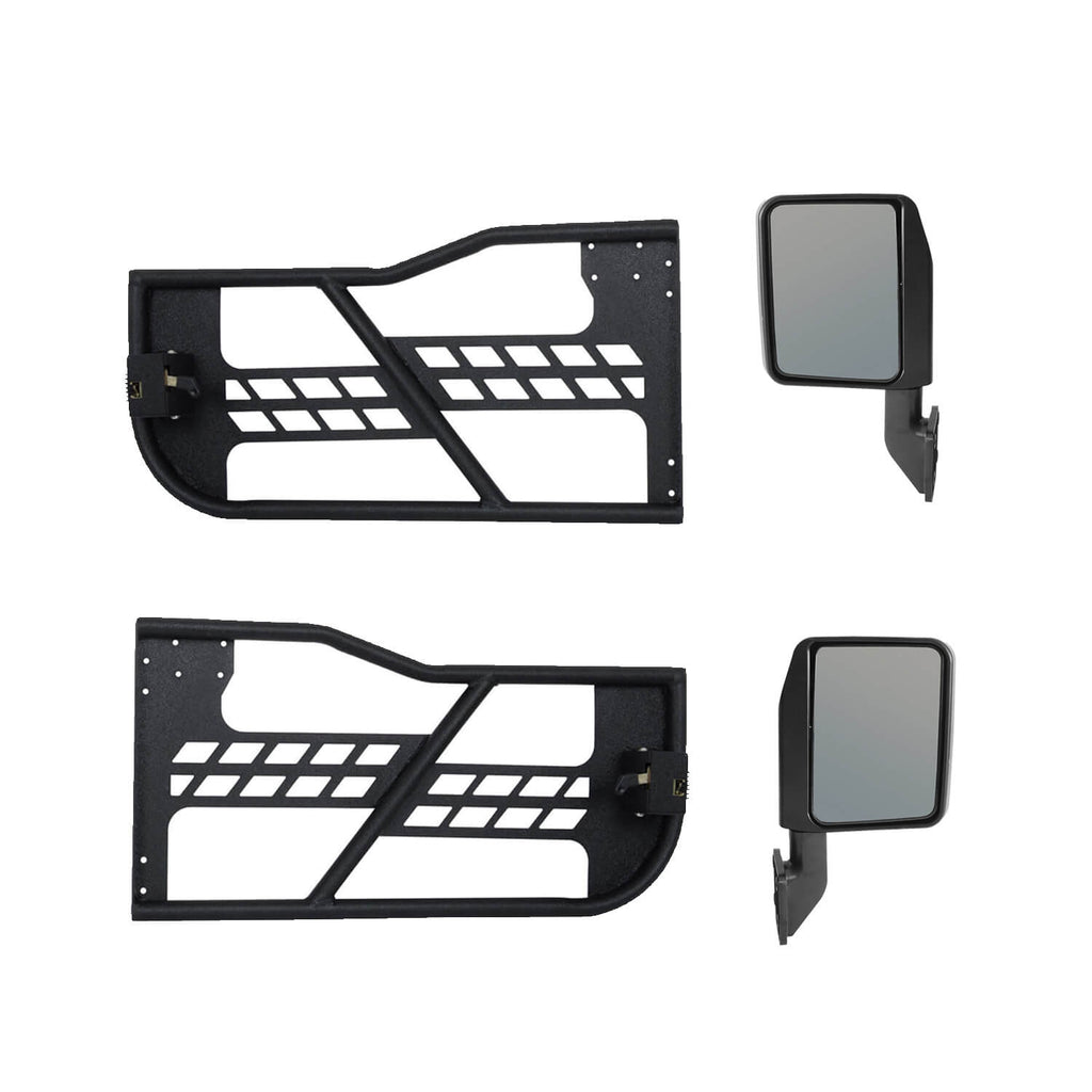 Rock Crawler Tubular Door Guards with Mirrors for 1997-2006 Jeep Wrangler TJ BXG092MMR10016 7