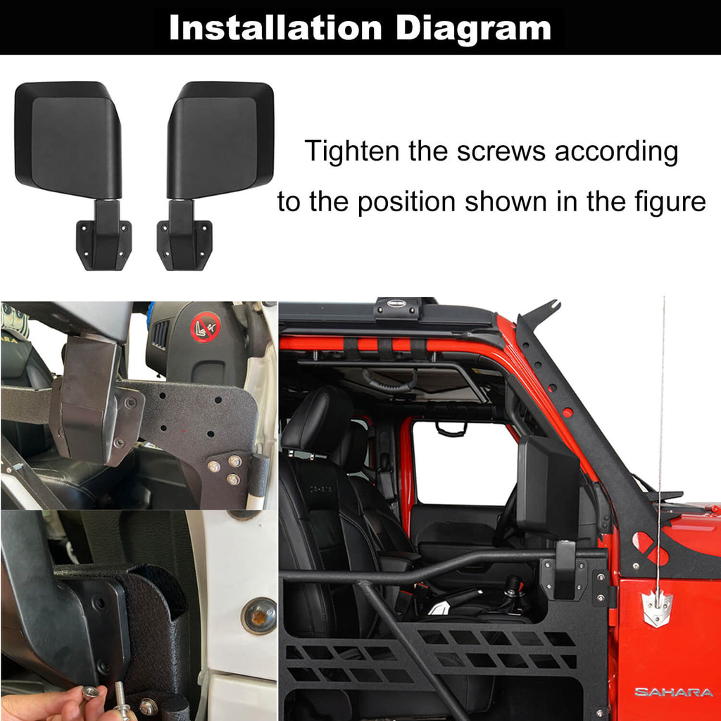Rock Crawler Tubular Door Guards with Mirrors for 1997-2006 Jeep Wrangler TJ BXG092MMR10016 8