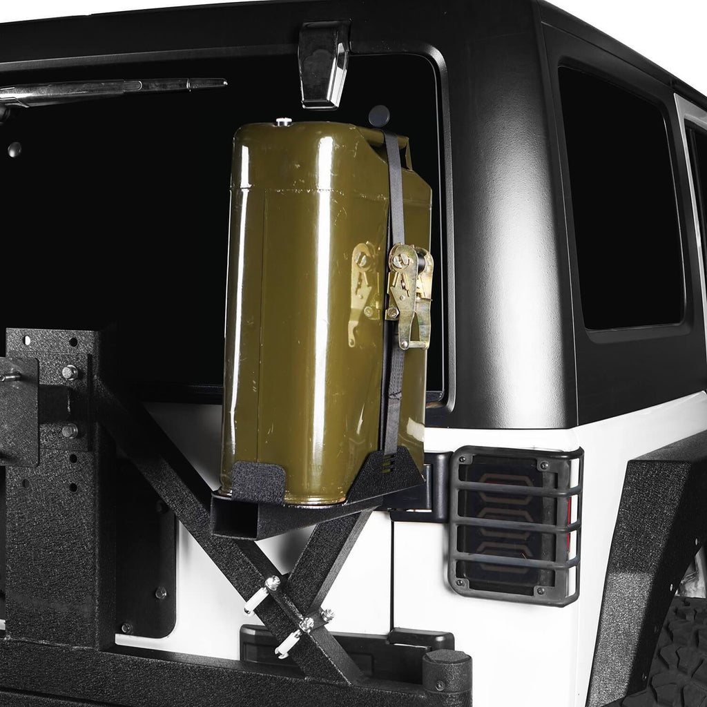 5.3 Gallon Jerry Can Mount Spare Tire Jerry Can Holder for 2007-2018 Jeep Wrangler JK 6