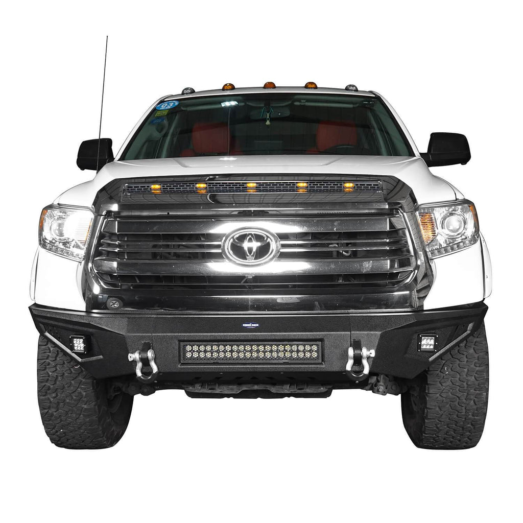 ooke Road Full Width Textured Black Front Bumper for 2014-2019 Toyota Tundra Pickup BXG601   4