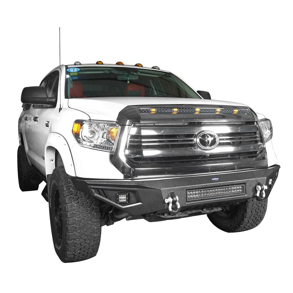 ooke Road Full Width Textured Black Front Bumper for 2014-2019 Toyota Tundra Pickup BXG601   5