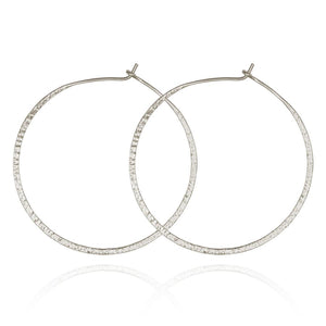 Simple Hammered Hoop - Earrings Silver