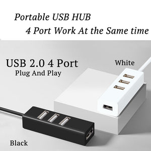 USB HUB 4 Port USB 2.0 HUB Laptop Desktop USB Splitter Mini Portable Computer Accessories USB Port Extender Device USB Adapter