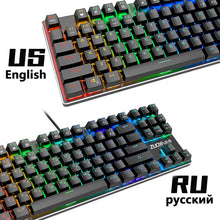 Load image into Gallery viewer, Mechanical Keyboard Wired Gaming Keyboard RGB Mix Backlit 87 104 Anti-ghosting Blue Red Switch For Game Laptop PC Russian US