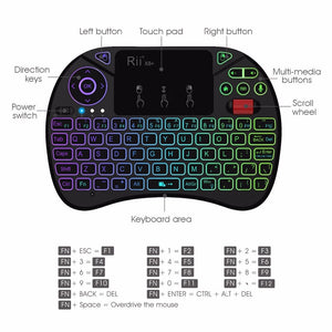 Rii X8+ 2.4GHz Mini Wireless Keyboard With Touchpad Voice Search LED Backlit Rechargable Li-ion Battery For Android TV box PC