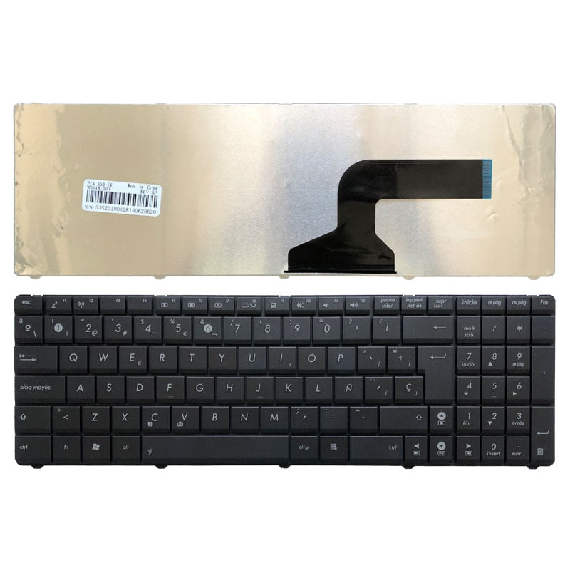 Spanish Laptop Keyboard for Asus X53 X54H k53 A53 N53 N60 N61 N71 N73S N73J P52 P52F P53S X53S A52J X55V X54HR X54HY N53T Black