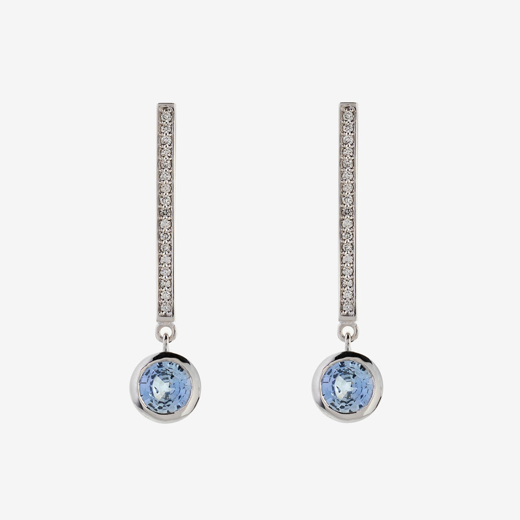 Diamonds Floating Sapphire Earrings