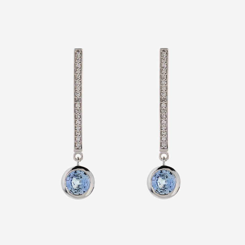 Diamond and Pale Sapphire Drop Earrings