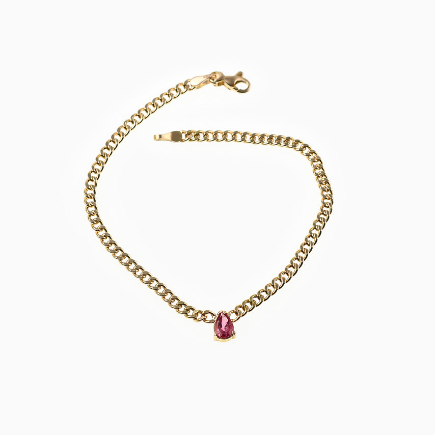 PEAR CUT TOURMALINE BRACELET LINK CHAIN - Politia Jewelry