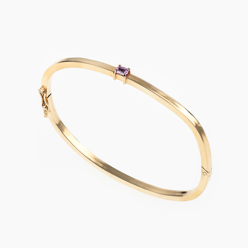 GEMSTONE BANGLE EMERALD CUT SAPPHIRE - Politia Jewelry