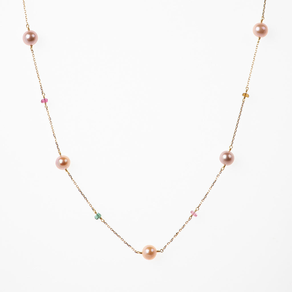 Pink Orange Pearls Necklace with Tourmalines - Politia Jewelry