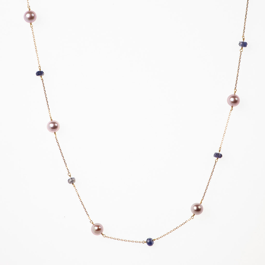 LILAC PEARLS NECKLACE WITH IOLITES - Politia Jewelry