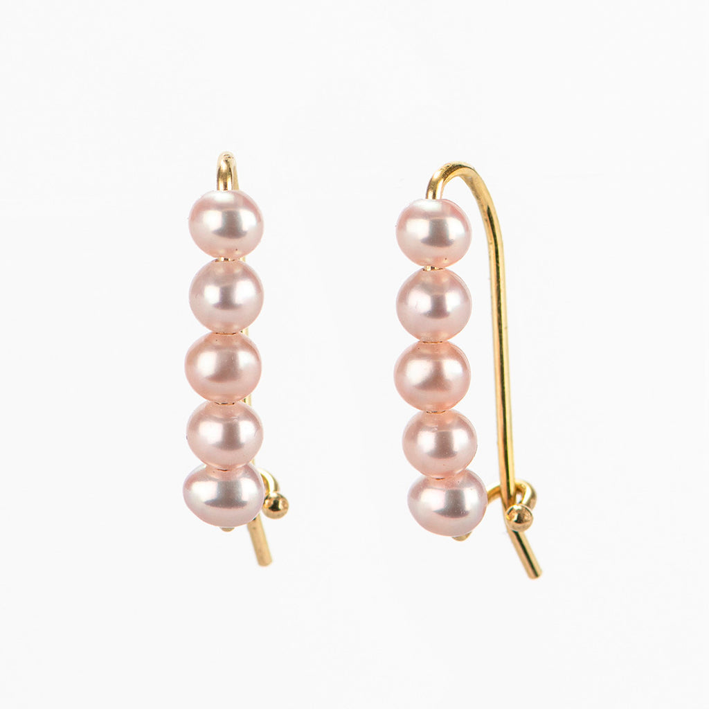 Pearls Safety Pin Earrings