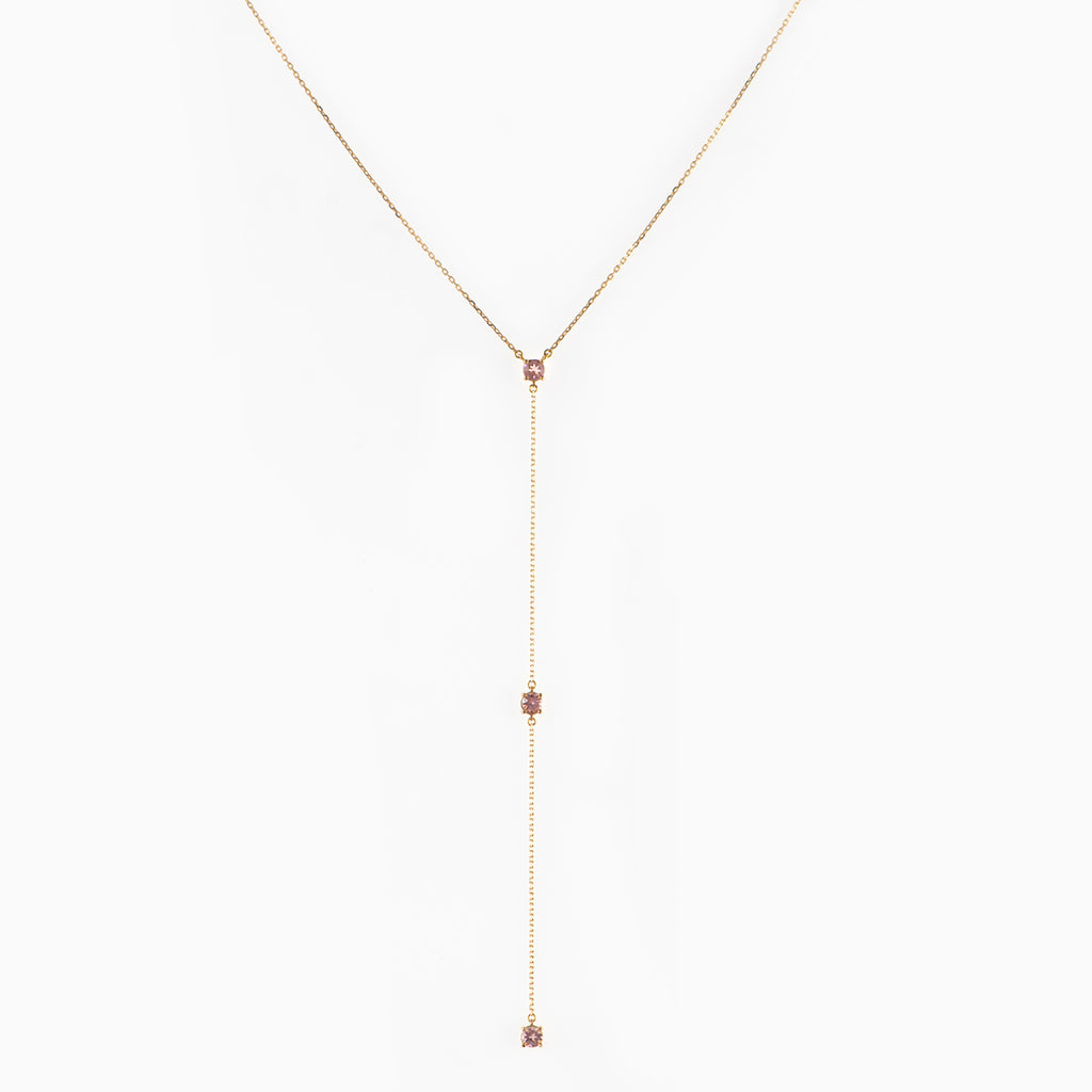 Long Lariat with Pink Tourmalines