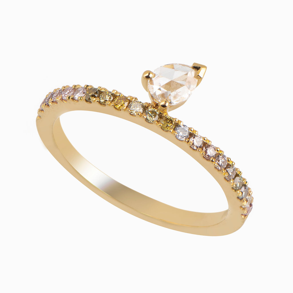 Pave Ring|Rose cut Pear Diamond and Fancy Colored Diamonds