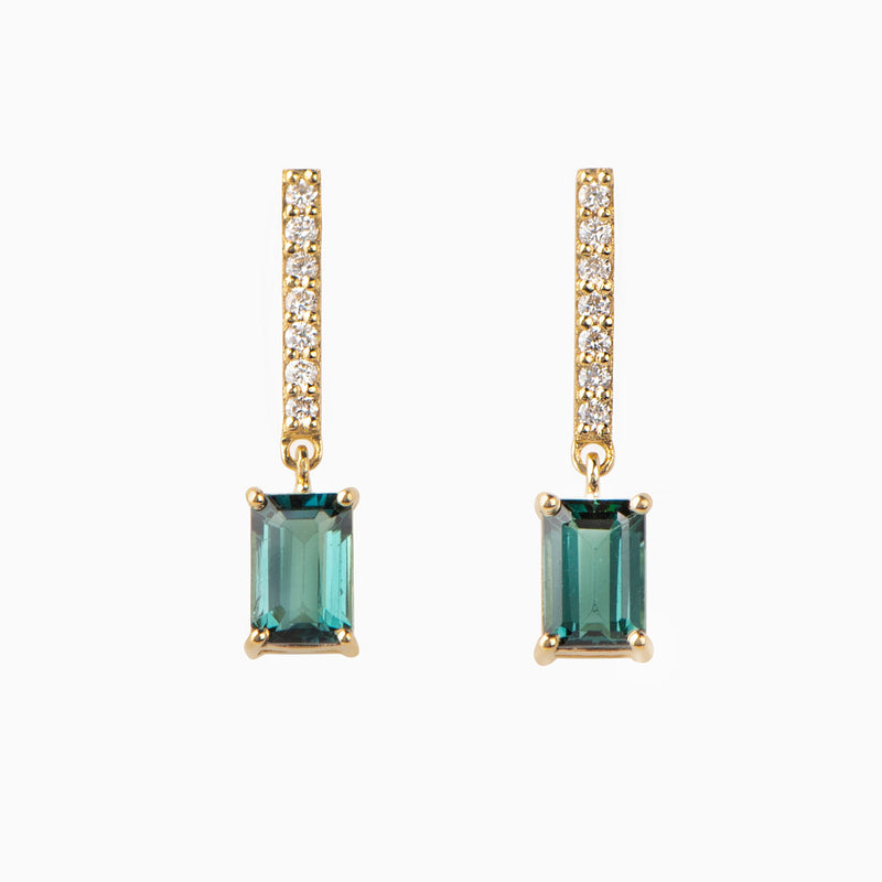 Emerald Cut Sapphire and Diamond Chain Earrings
