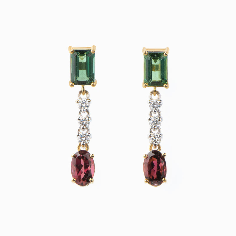 Diamonds and Tourmaline Drop Earrings