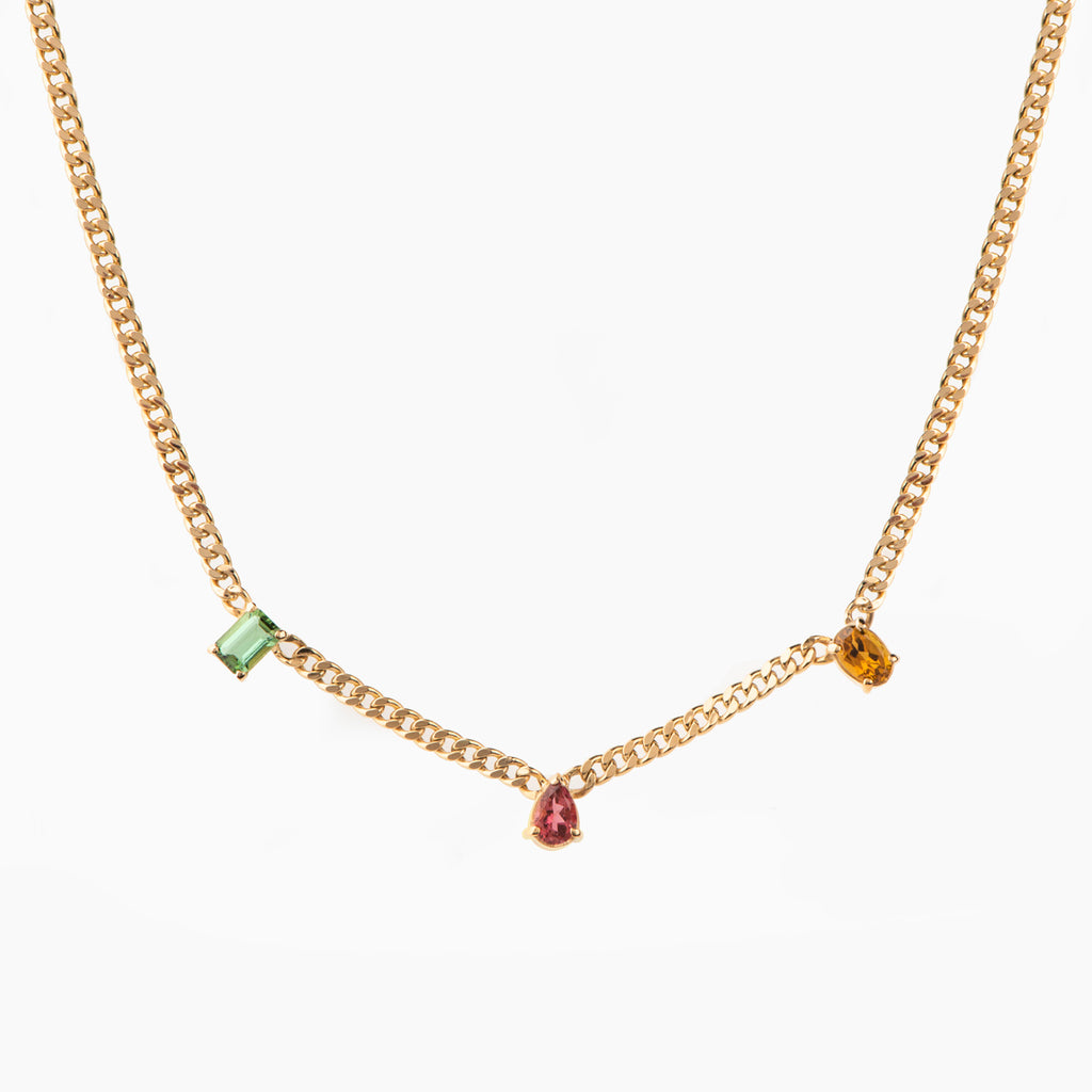 Multi Shape and Colourful Tourmaline Link Necklace