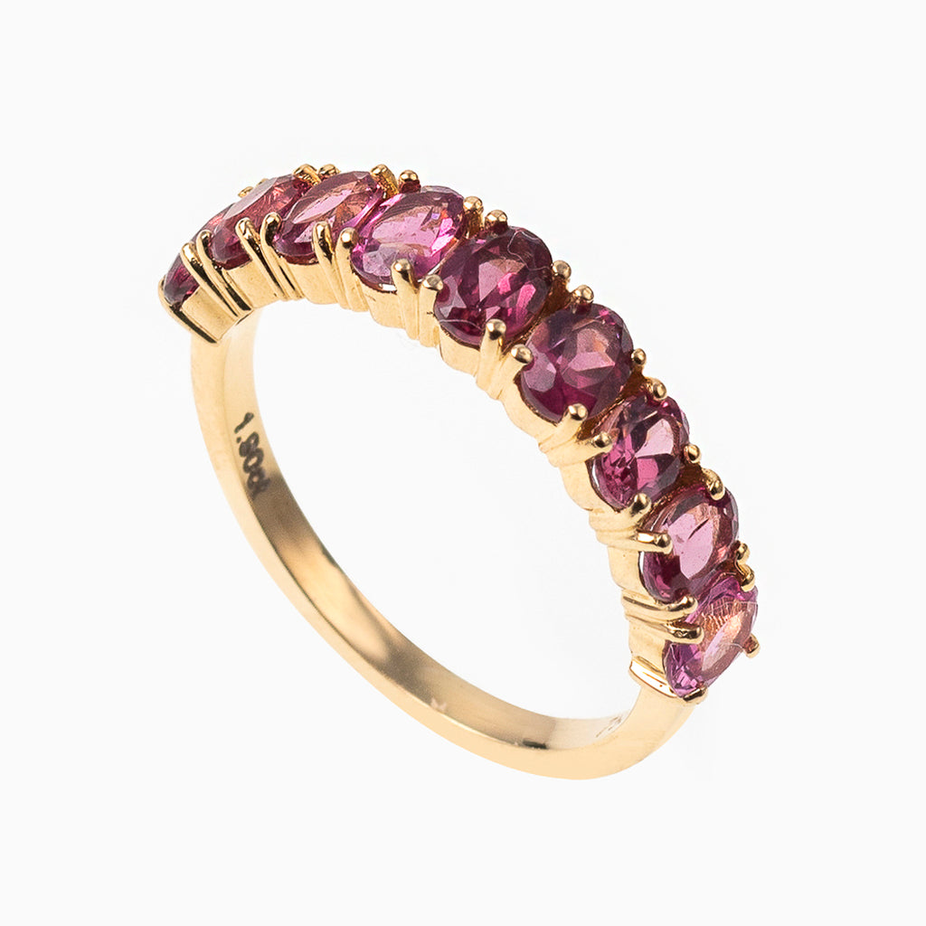 Oval Cut Rhodolite Garnet Eternity Band