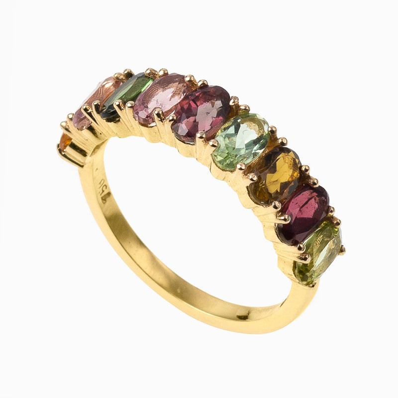 Oval Cut Multi Colour Tourmaline Band