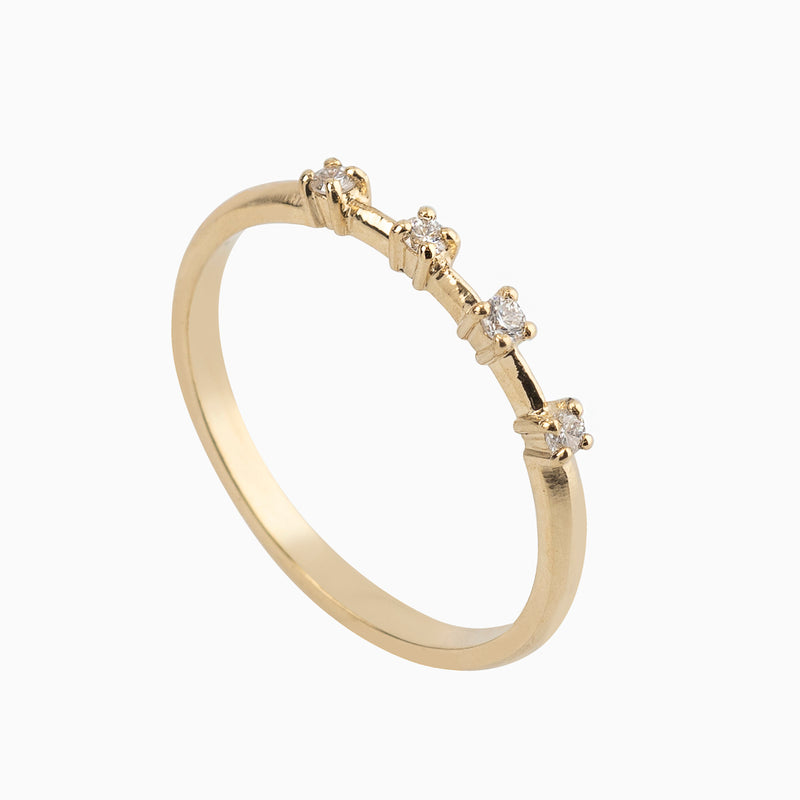 Gold Band with Double Pave Line