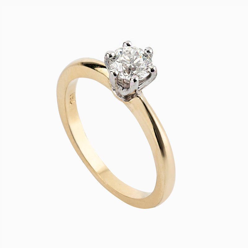 Round Engagement Ring with Delicate Band and Hidden Detail