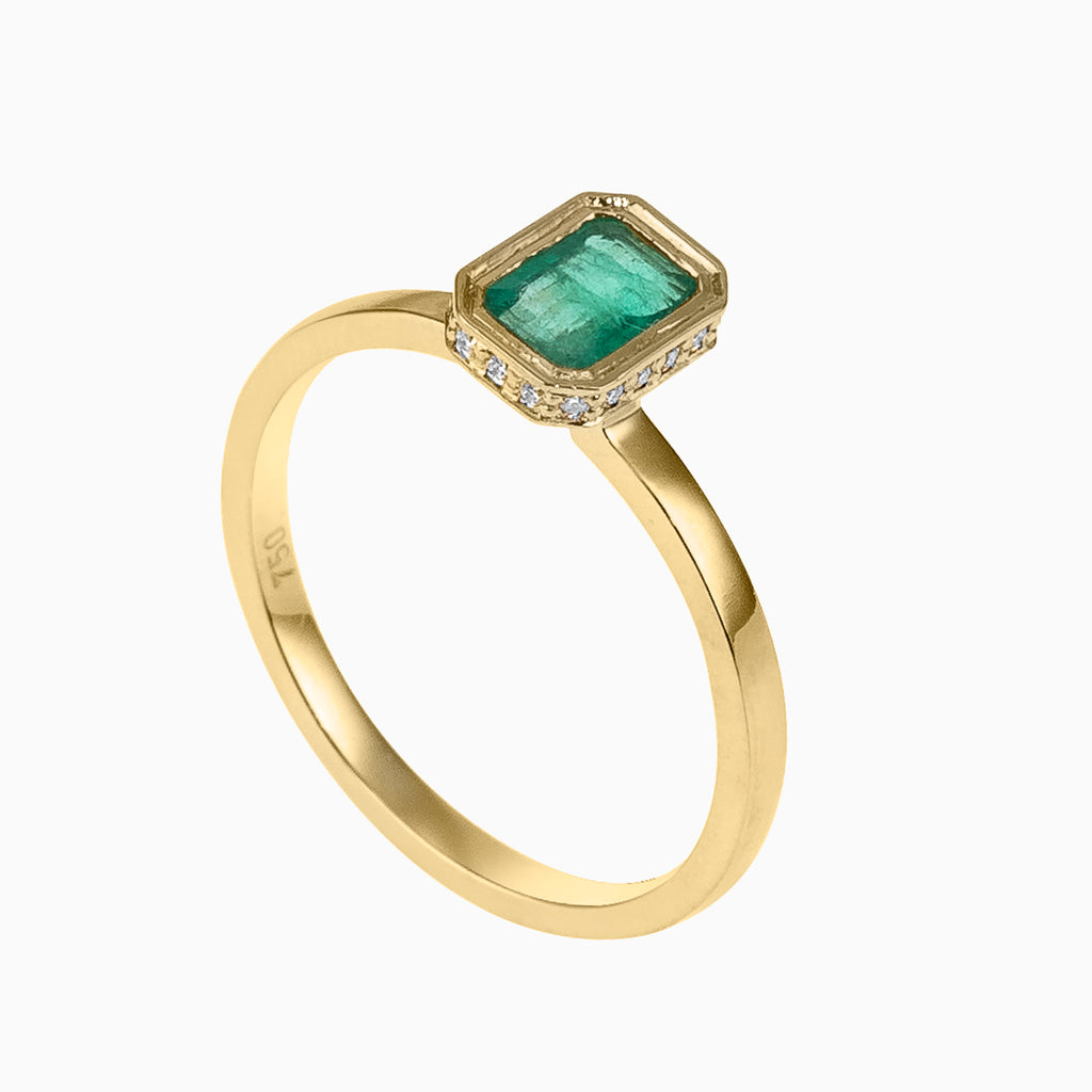 Emerald Cut Emerald Hidden Detail Ring