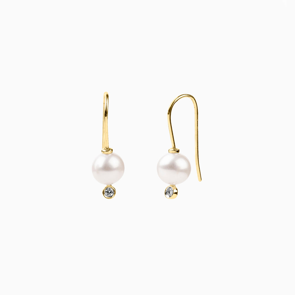 Pearl and Diamond Wire Earrings