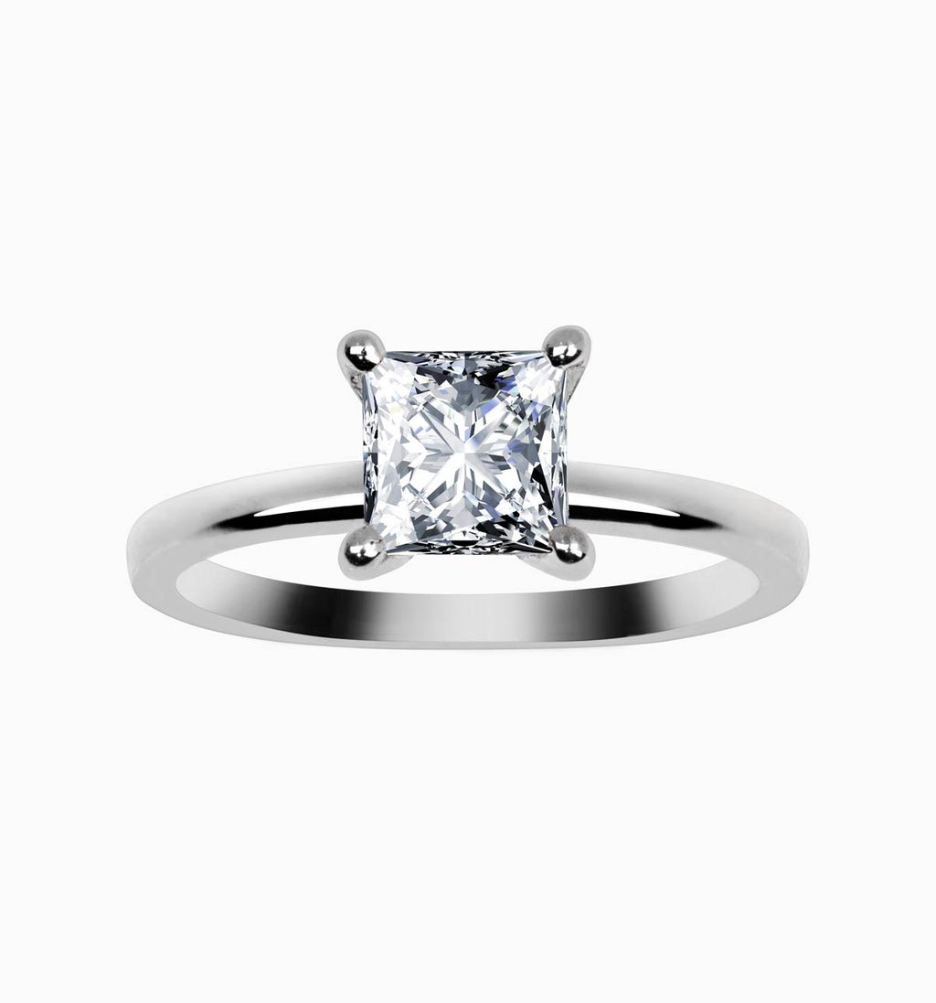 Princess Cut Engagement Ring with Hidden detail