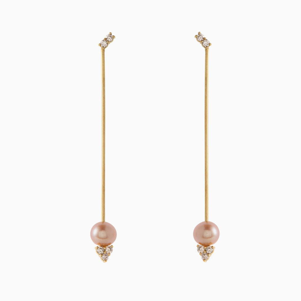 Long Pearl and Brown Diamonds Earrings