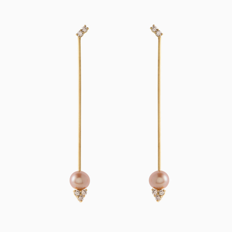 Long Pearl and Champagne Diamond Earrings