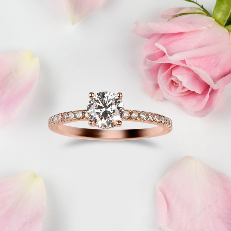 Round Brilliant with Pave and Hidden detail Engagement ring