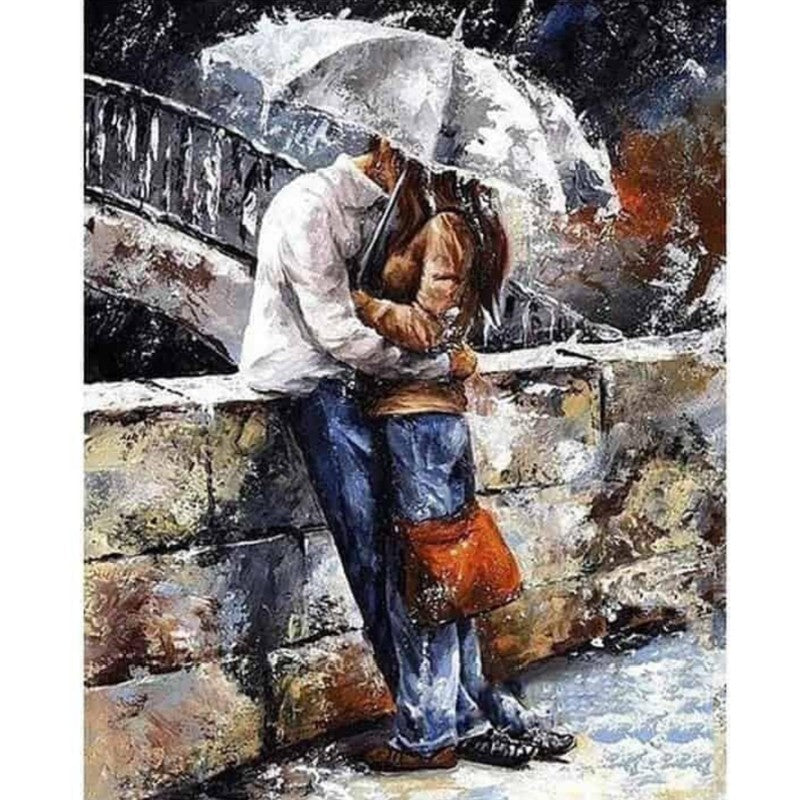 Beso bajo la lluvia Paint By Numbers