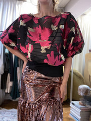Moonlight Sonata Top: Pink/Black/Gold organza