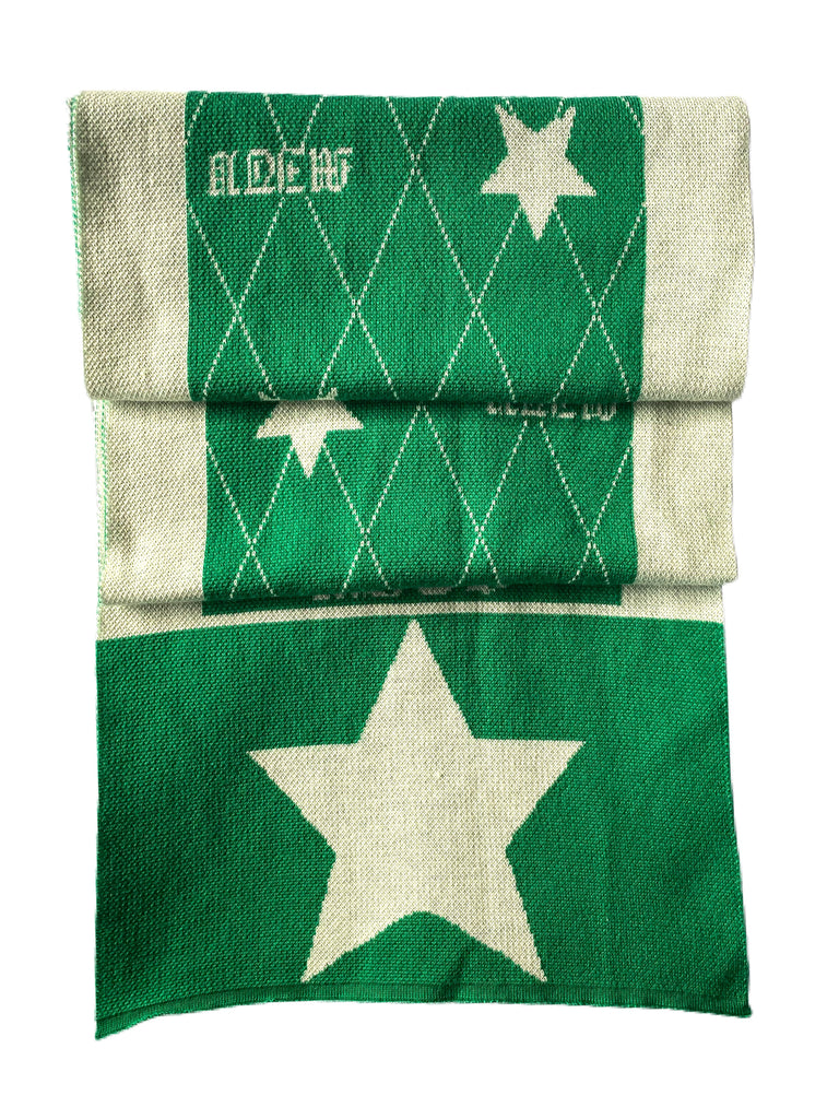 Knitted Accessories- Scarf Star Green/Cream