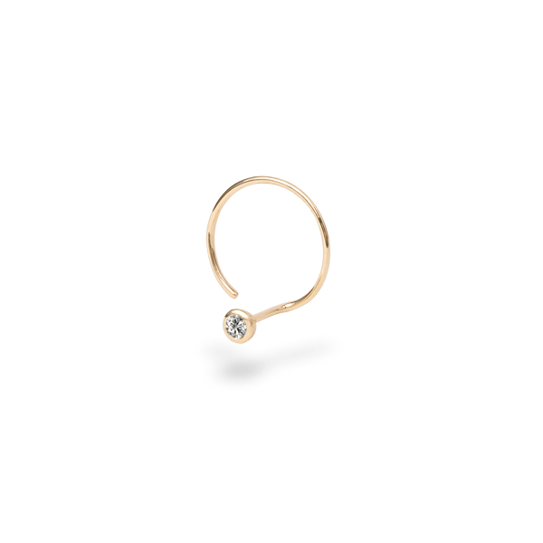 Catchless Diamond Hoop Earring(single) - PRMAL