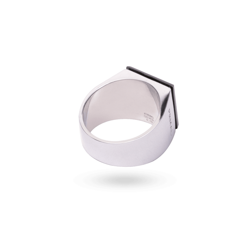 Center Diamond Signet Ring [SV/Onyx] - PRMAL