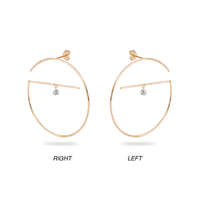 Floating Diamond Hoop Earring L - PRMAL