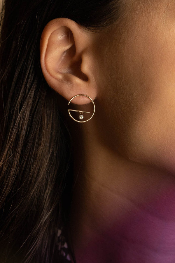 Floating Diamond Hoop Earring S - PRMAL