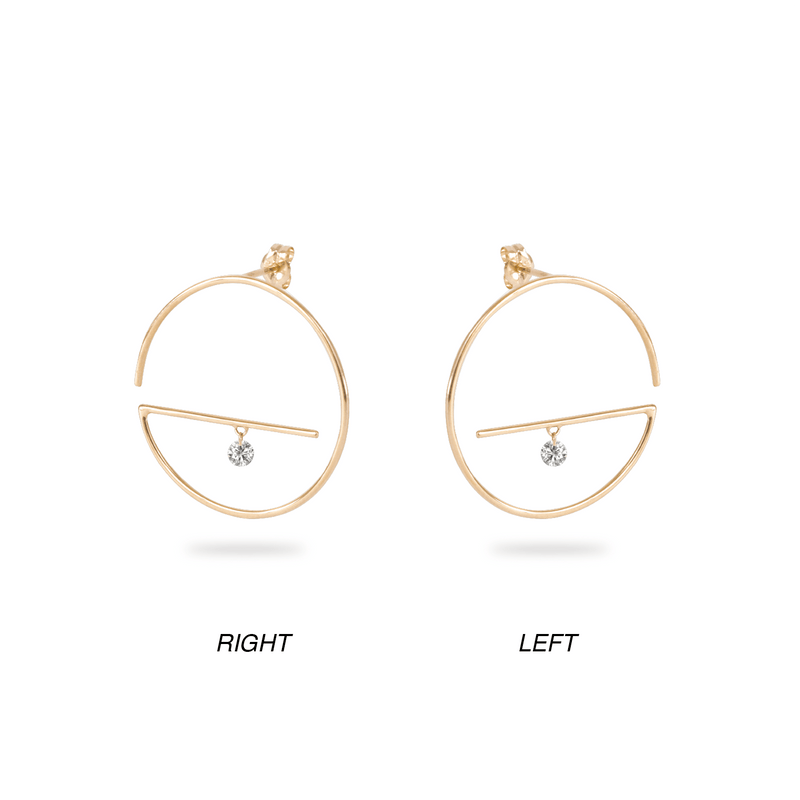 Floating Diamond Hoop Lower Earring M - PRMAL