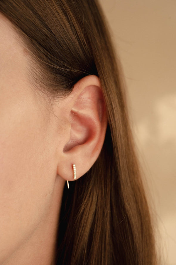 Line Diamond Tail Earring - PRMAL