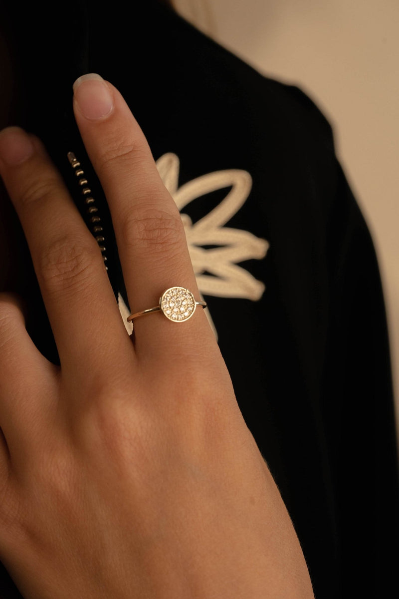 Pave Disk Ring [PINK EDITION] - PRMAL