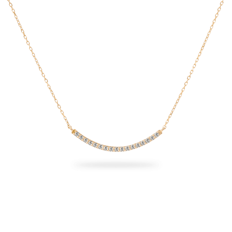 Pave Long Curve Necklace - PRMAL