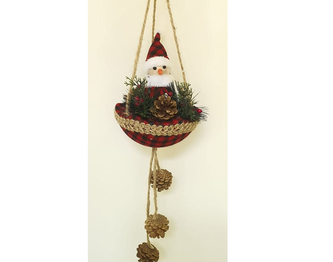 Snowman in red and black basket