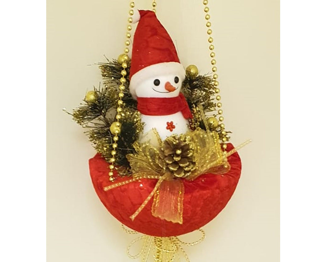 Snowman in red basket with baubles