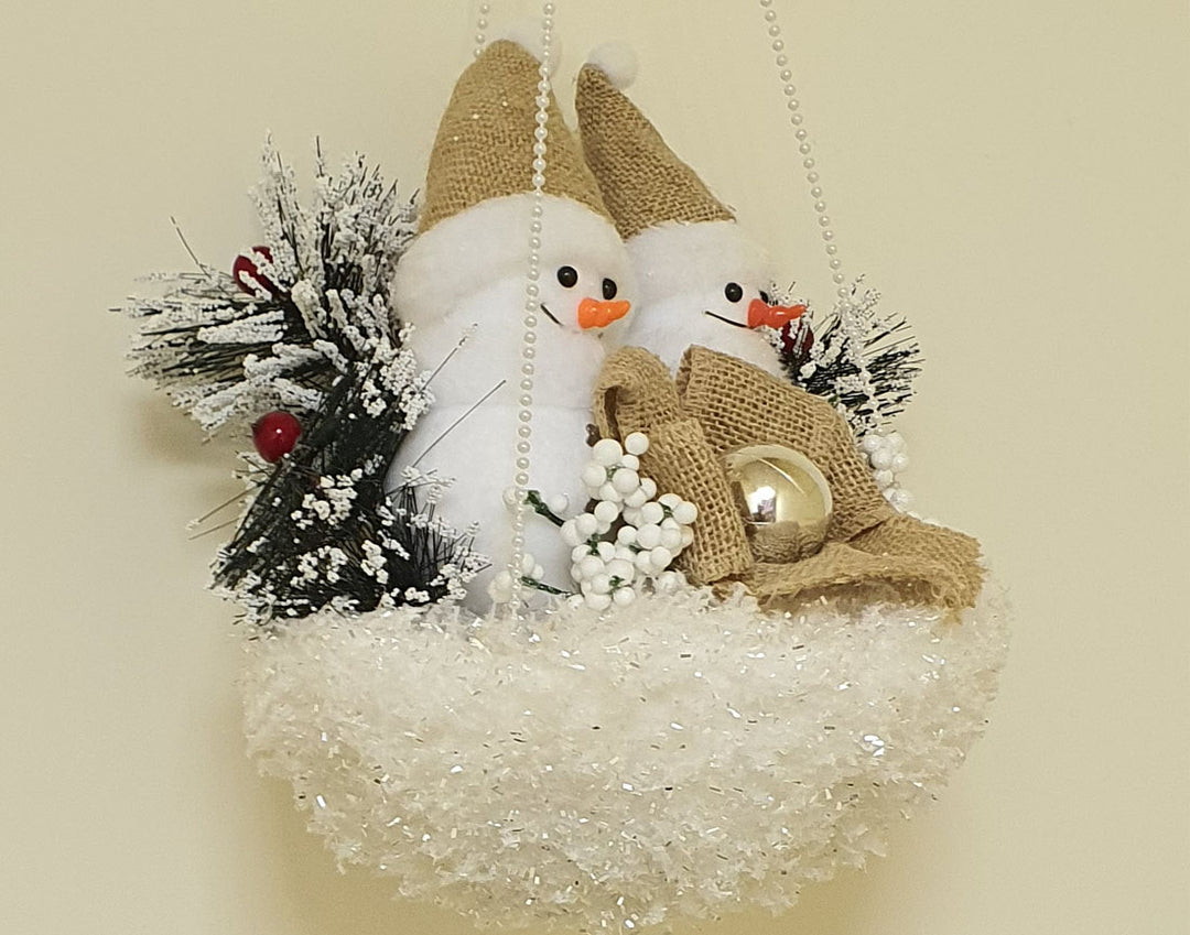 Two snowmen with baubles